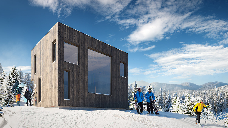 Arkitekturvisualisering: hytte 4