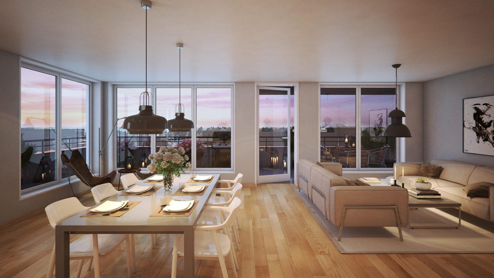 3D-tegninger: lunt interiør med kveldsstemning
