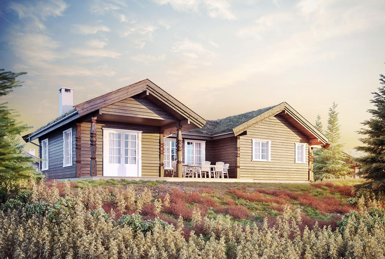 Arkitekturvisualisering: hytte 2