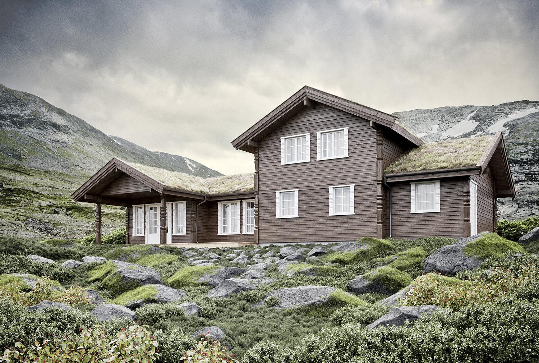 Arkitekturvisualisering: hytte 1